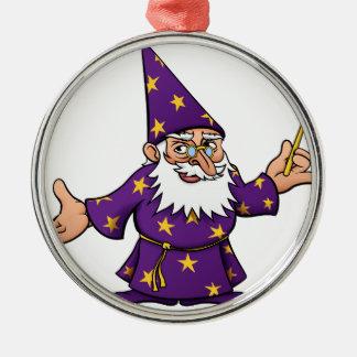 Cartoon Wizard Silver-Colored Round Decoration