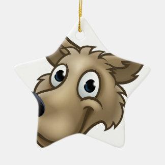 Cartoon Wolf Character Mascot Christmas Ornament