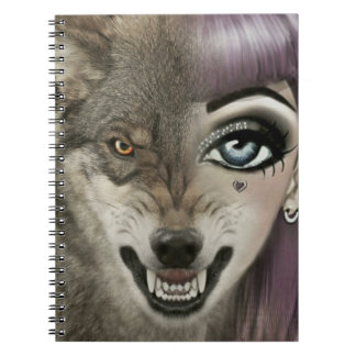 Cartoon Wolf Girl Notebooks