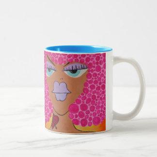 Cartoon woman afro tattoo coffee mug