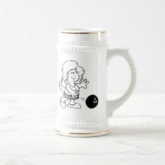 Cartoon Woman Bowling Mugs