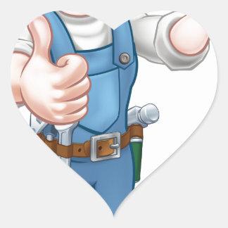 Cartoon Woman Carpenter Holding Hammer Heart Sticker