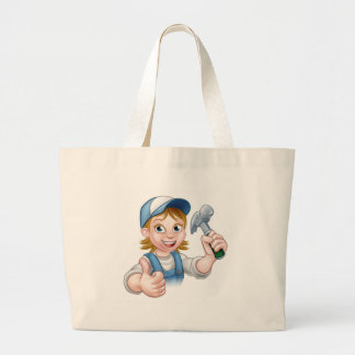 Cartoon Woman Carpenter Holding Hammer Large Tote Bag