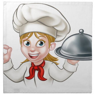 Cartoon Woman Chef Holding Plate or Platter Napkin