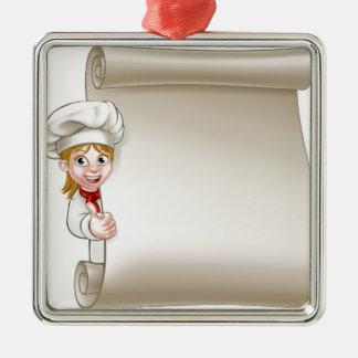 Cartoon Woman Chef Menu Scroll Silver-Colored Square Decoration