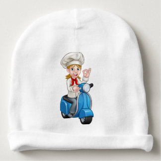Cartoon Woman Delivery Moped Chef Baby Beanie