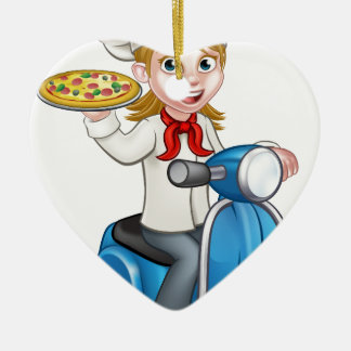 Cartoon Woman Pizza Chef on Delivering PIzza Ceramic Heart Decoration