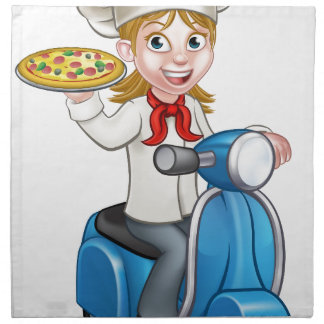 Cartoon Woman Pizza Chef on Delivering PIzza Napkin
