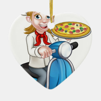 Cartoon Woman Pizza Chef on Moped Scooter Ceramic Heart Decoration