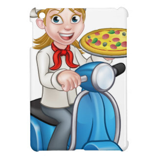 Cartoon Woman Pizza Chef on Moped Scooter iPad Mini Cover