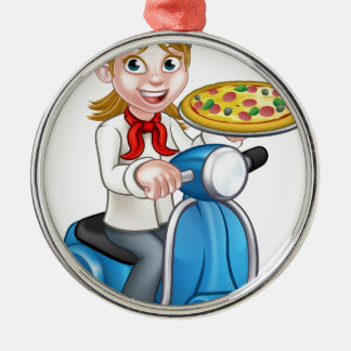 Cartoon Woman Pizza Chef on Moped Scooter Silver-Colored Round Decoration