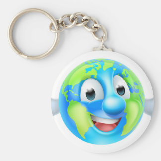 Cartoon World Earth Day Thumbs Up Globe Character Basic Round Button Key Ring