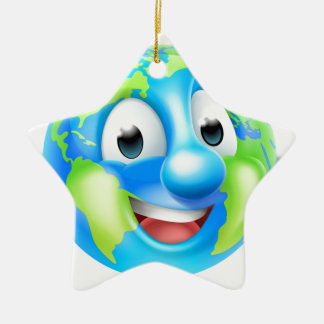 Cartoon World Earth Day Thumbs Up Globe Character Ceramic Star Decoration