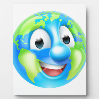 Cartoon World Earth Day Thumbs Up Globe Character Photo Plaques