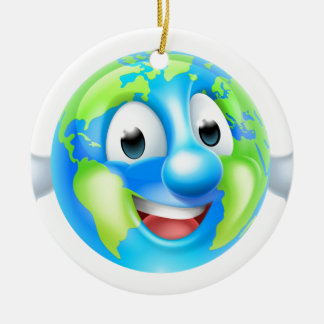 Cartoon World Earth Day Thumbs Up Globe Character Round Ceramic Decoration