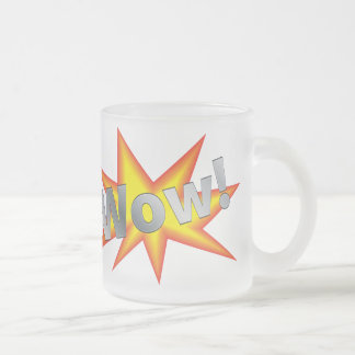 Cartoon WOW Frosted Glass Coffee Mug