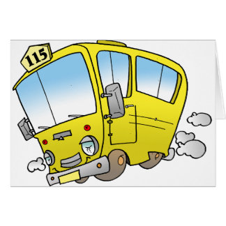 Cartoon Yellow Bus Greeting Cards