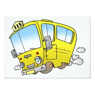 Cartoon Yellow Bus Invitations