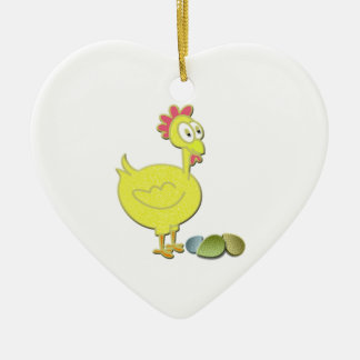 Cartoon Yellow Chicken and Eggs Art Ceramic Heart Decoration