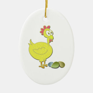 Cartoon Yellow Chicken and Eggs Art Ceramic Oval Decoration