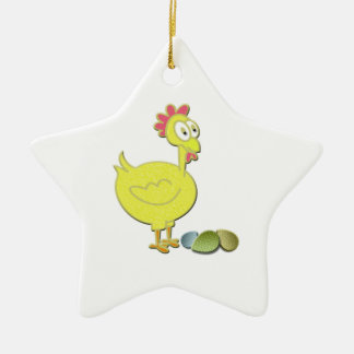 Cartoon Yellow Chicken and Eggs Art Ceramic Star Decoration