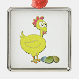 Cartoon Yellow Chicken and Eggs Art Christmas Ornament