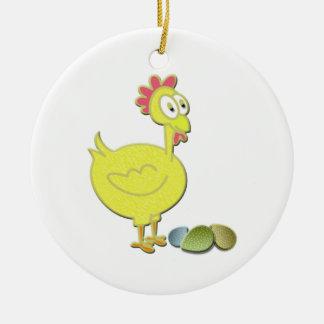 Cartoon Yellow Chicken and Eggs Art Round Ceramic Decoration