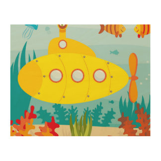 Cartoon Yellow Submarine Wood Print