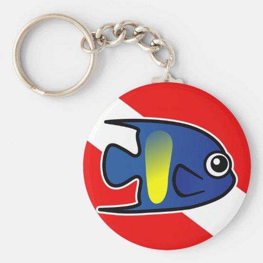 Cartoon Yellowbar Angelfish Dive Flag Basic Round Button Key Ring