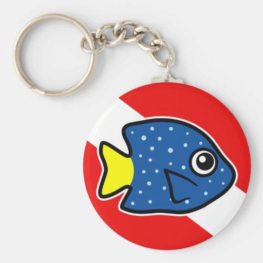 Cartoon Yellowtail Damselfish Dive Flag Basic Round Button Key Ring