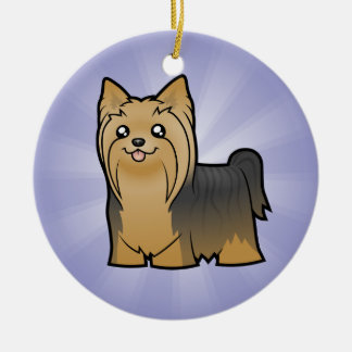Cartoon Yorkshire Terrier (add your message) Round Ceramic Decoration