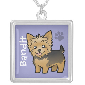 Cartoon Yorkshire Terrier (add your pets name) Silver Plated Necklace