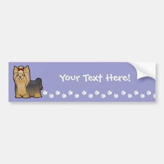 Cartoon Yorkshire Terrier (long hair with bow) Bumper Sticker