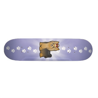 Cartoon Yorkshire Terrier (long hair with bow) Skateboards