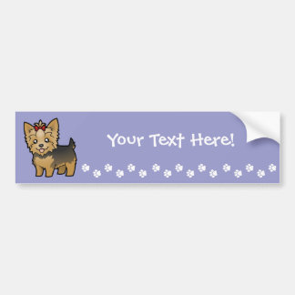 Cartoon Yorkshire Terrier (short hair with bow) Bumper Sticker