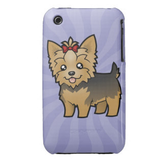 Cartoon Yorkshire Terrier (short hair with bow) iPhone 3 Case
