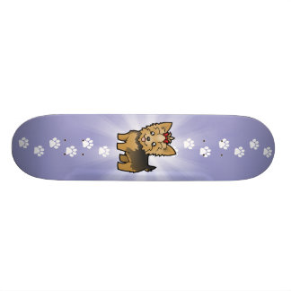Cartoon Yorkshire Terrier (short hair with bow) Skate Board Decks