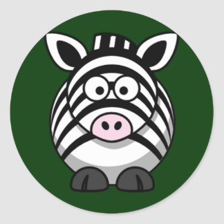 Cartoon Zebra Round Sticker