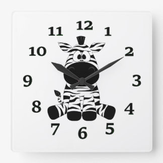 Cartoon Zebra Square Wall Clock