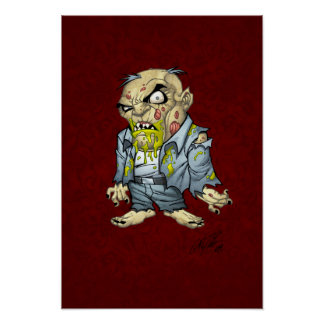 Cartoon Zombie Business Man Art by Al Rio Posters