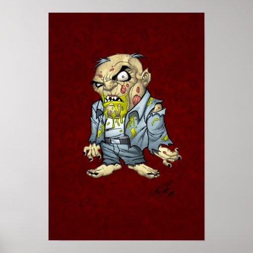 Cartoon Zombie Business Man Art by Al Rio Posters
