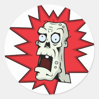 Cartoon Zombie Classic Round Sticker