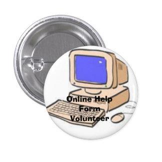 cartoonComputer, Online Help Form Volunteer 3 Cm Round Badge