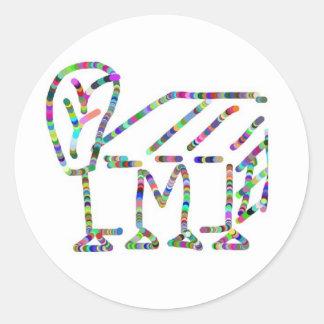 Cartoons, Caricature, alphabet mmm Round Sticker