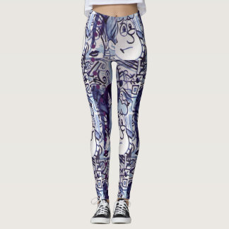 Cartoons with ink abstract lines and dots leggings