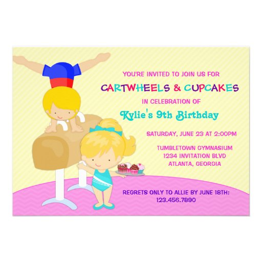 Cartwheels and Cupcakes Gymnastics Birthday Party Personalized Invitation