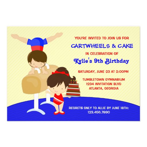 Cartwheels and Cupcakes Gymnastics Birthday Party Personalized Announcement