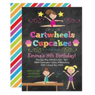 Gymnastics party invitations announcements zazzle cartwheels cupcakes chalkboard gymnastics party invitation stopboris Image collections
