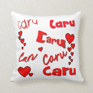 Caru (Welsh for 'love') & red hearts Cushion