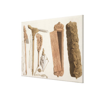 Carved and decorated Aboriginal tools, illustratio Canvas Print